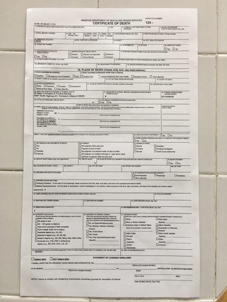 Missouri death certificate